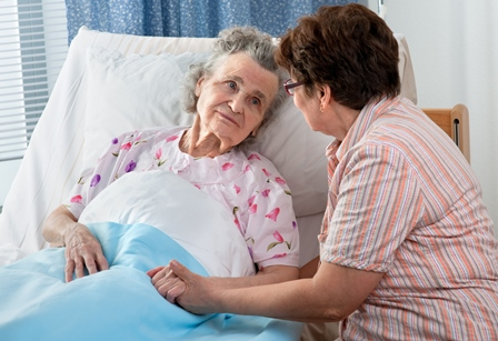 Nurse talking to patient